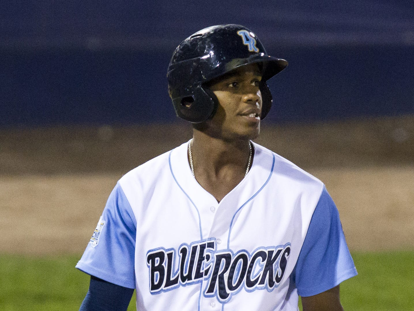 Wilmington Blue Rocks right fielder Elier Henandez looks to the scoreboard after striking out during the Blue Rocks 2-0 loss to the Myrtle Beach Pelicans in the second game of the Mills Cup Championship series at Frawley Stadium in Wilmington, Del. on Monday evening.