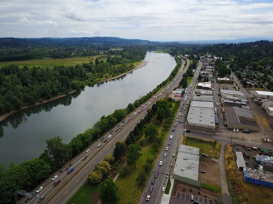 Traffic along the Willamette River on June 17, 2017. A fatal motorcycle crash had stalled traffic in Salem on Saturday.