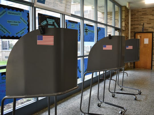Polls set up at Poughkeepsie Middle School on Tuesday