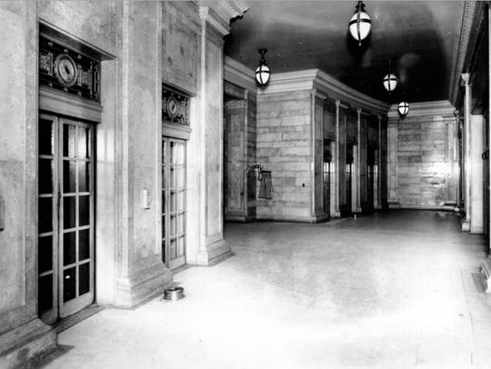 The elevator lobby at Michigan Central Station, date