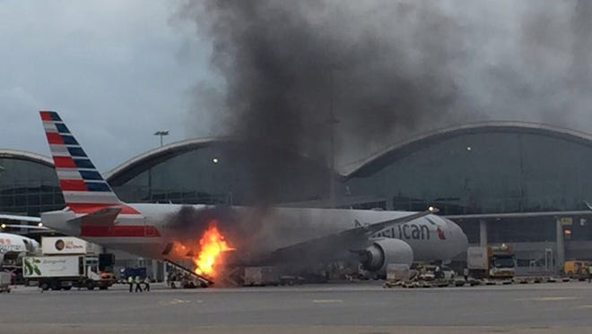 A fire broke out on loading equipment that was readying cargo for an American Airlines Boeing 777 in Hong Kong on Oct. 9, 2017. The flames did not spread to the aircraft, according to American spokeswoman Martha Thomas.