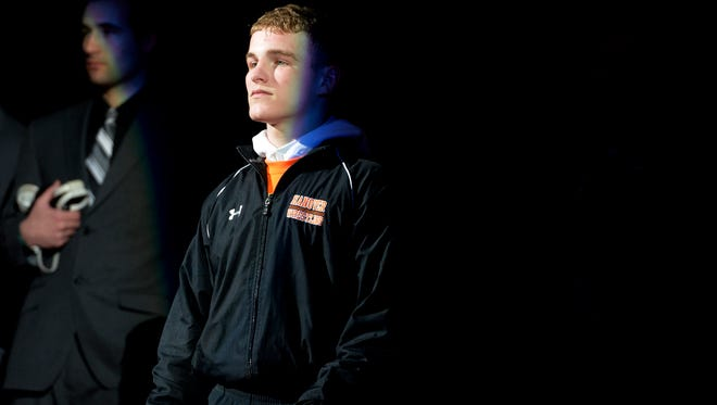 Hanover wrestler Ian Brown is introduced before the start of the PIAA Class AA wrestling championships on Saturday, March 8, 2014, at the Giant Center. Brown will compete in the NCAA Wrestling Championships at the Quicken Loans Arena in Cleveland, March 15-17.