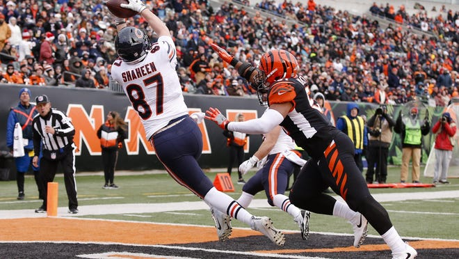 Chicago Bears tight end Adam Shaheen catches a touchdown pass against the Cincinnati Bengals.