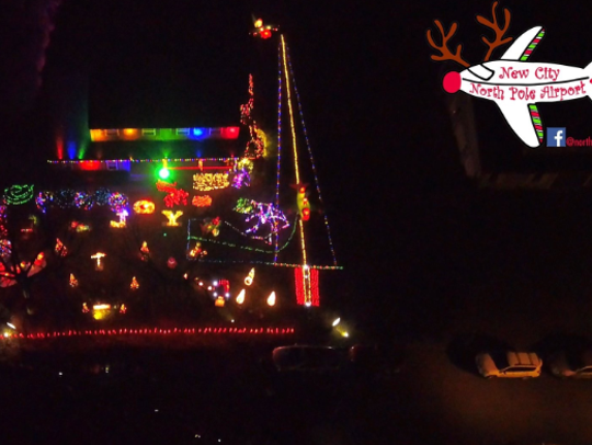 Christmas light show at the Cirlin family house on