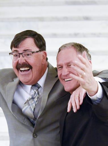 South Dakota Gov. Dennis Daugaard (right) and Lt. Gov.