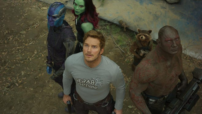 "Nebula (Karen Gillan), Gamora (Zoe Saldana), Star-Lord/Peter Quill (Chris Pratt), Groot (voiced by Vin Diesel), Rocket (voiced by Bradley Cooper) and Drax (Dave Bautista) in ""Guardians Of The Galaxy Vol. 2."""