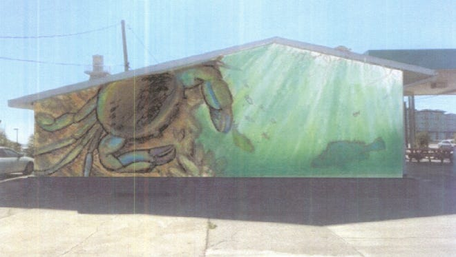 This colorful crab mural is slated for the north wall of Melbourne Seafood Station.