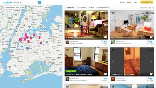 This Oct. 14 screen shot provided by Airbnb from its website shows a typical search for listings of rooms to rent, in this case in the Queens borough of New York, through Airbnb.