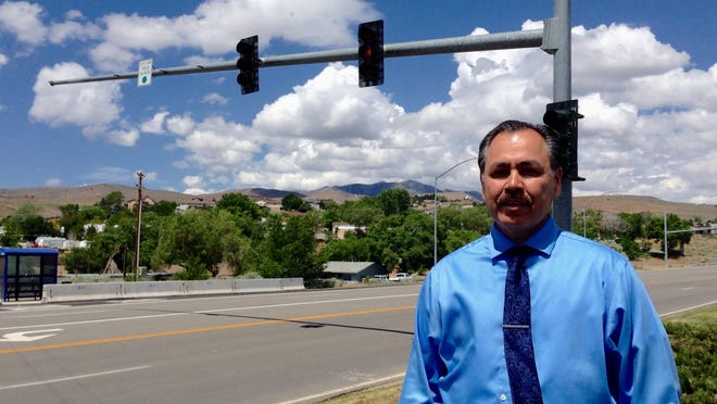 NDOT Director Rudy Malfabon at the unveiling of a new traffic signal at the deadly intersection in front of the Bonanza Casino.