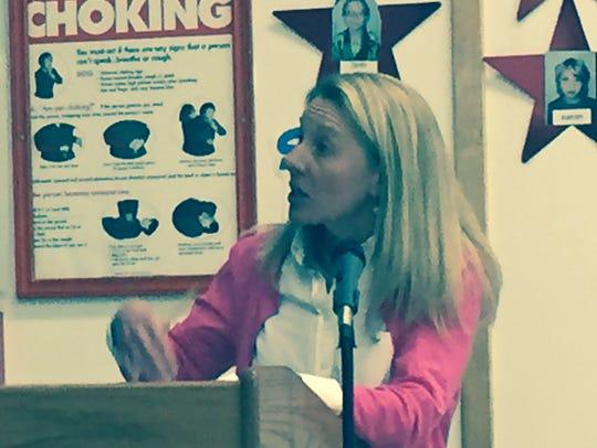 Former Horseheads teacher Lynn Leonard, calling Horseheads'