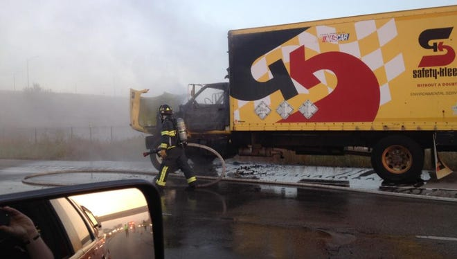 A truck caught fire on southbound U.S. 41 disrupting the morning commute.