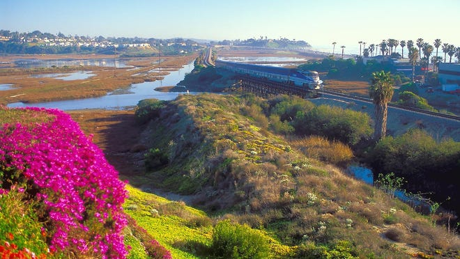 The Coaster train unites the historic ribbon of surf-hugging towns in San Diego County.