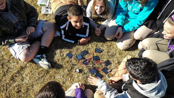 Students at Mendive Middle School in Sparks play with