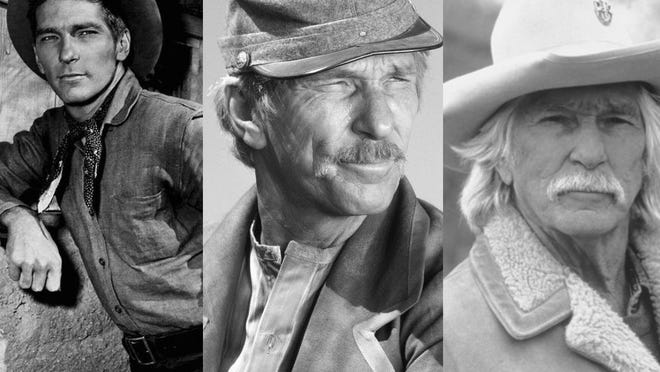 """L.Q. Jones over the years. """"Buchanan Rides Alone"""" (1958), """"Major Dundee"""" (1965), """"The Patriot"""" (1998)."""
