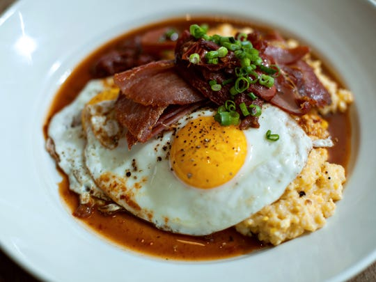 Organic eggs and served with Virginia country ham and Nora Mill Granary grits.