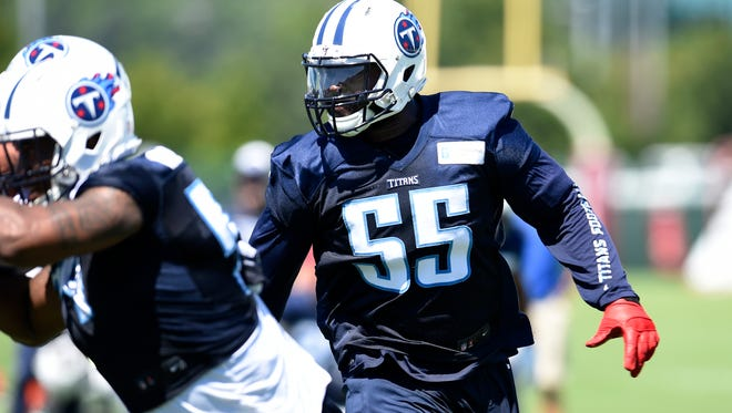 Titans linebacker Zach Brown (55) looks to make a play during practice at St. Thomas Sports Park Friday July 31, 2015, in Nashville, Tenn.