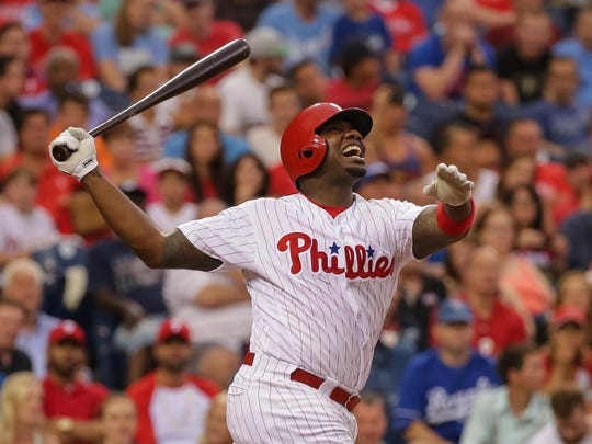 Philadelphia Phillies' Ryan Howard shouts in anguish after striking out during a 2016 game in Philadelphia.