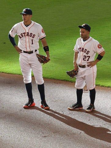 Shortstop Carlos Correa and baseman Jose Altuve have