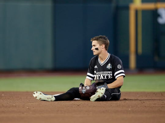 Mississippi State's Jake Mangum sits at second base