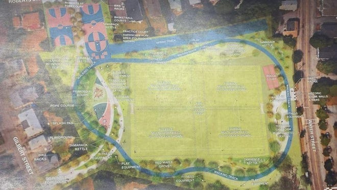 A drawing from 2018 that shows proposed changes to Kincaide Park.