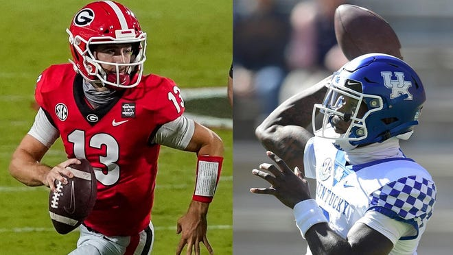 Quarterbacks Stetson Bennett from Georgia and Terry Wilson from Kentucky have gone from junior college to SEC starting quarterbacks. (USA Today photos).