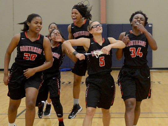 Members of the South Side High School Lady Hawks basketball