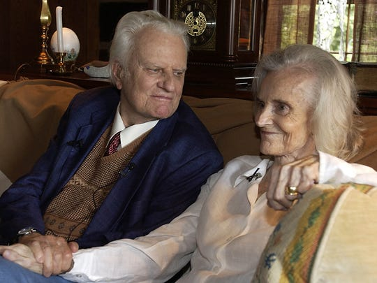RUTHGRAHAM -- Billy and Ruth Graham sit together on Aug. 11, 2003, at their home in Montreat, N.C. Ruth Graham died June 14, 2007. She was 87. (Gannett News Service, Steve Dixon/Asheville (N.C.) Citizen and Times/File)