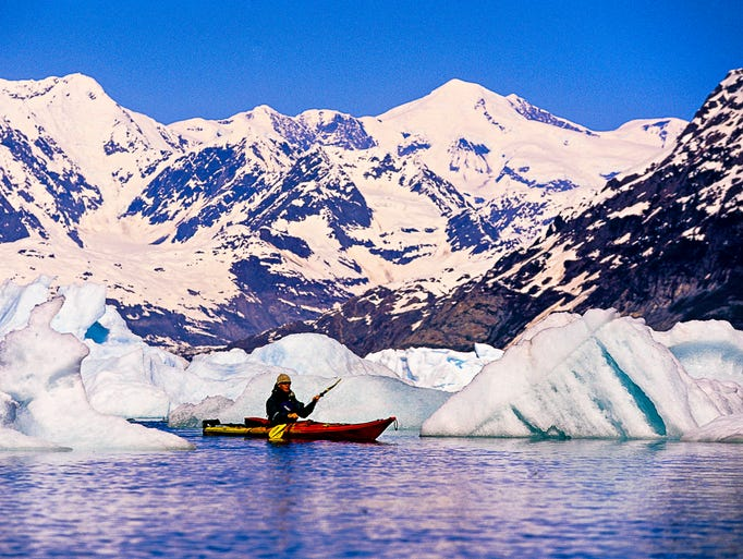 The glacier-rimmed Prince William Sound in Alaska is best seen from the water.