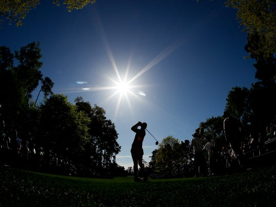 Wesley Bryan watches his tee shot on the seventh hole during practice for the Masters golf tournament at Augusta National Golf Club, Monday, April 2, 2018, in Augusta, Ga. (AP Photo/Charlie Riedel)