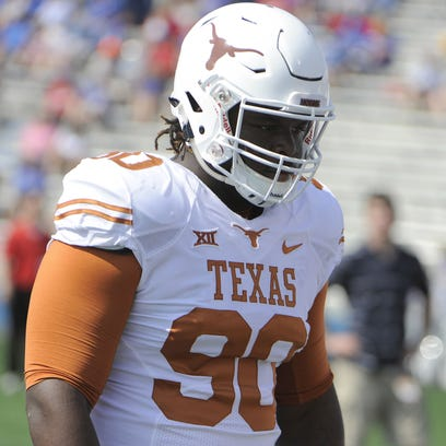 Sep 27, 2014; Lawrence, KS, USA; Texas Longhorns defensive