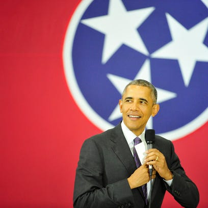 With the Tennessee flag as a backdrop, President Barack