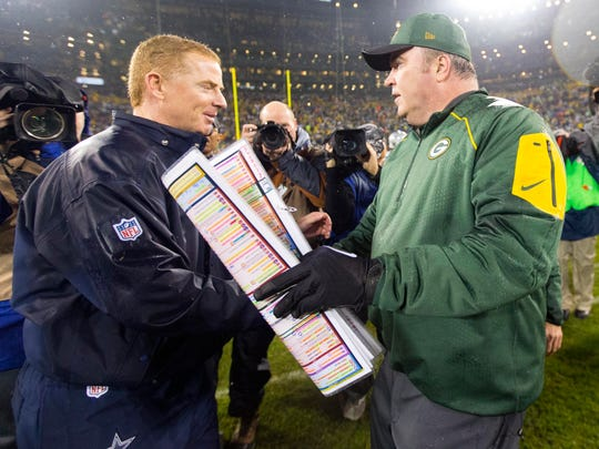 Dec 13, 2015; Green Bay, WI, USA; Green Bay Packers head coach Mike McCarthy greets Dallas Cowboys head coach Jason Garrett following the game at Lambeau Field.  Green Bay won 28-7.  Mandatory Credit: Jeff Hanisch-USA TODAY Sports