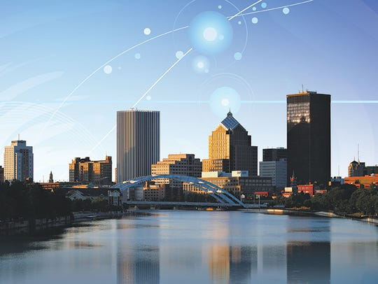 A photo illustration of downtown Rochester, future