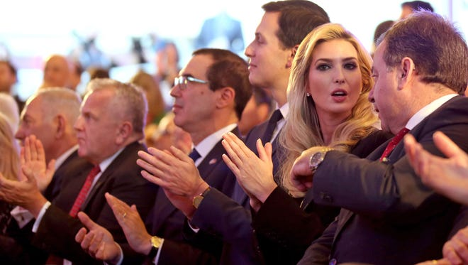 President Trump's daughter Ivanka Trump, second from right, attends the official reception at the Ministry of Foreign Affairs in Jerusalem on May 13, 2018, ahead of Monday's transfer of the U.S. Embassy to Jerusalem.