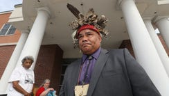 Vincent Mann, Chief of the Ramapough Turtle Clan, outside