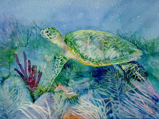 """Nancy Crawford's watercolor ''Hawksbill Tortoise"""" is one of the works that has been showcased at Fifth Avenue Art Gallery over the years."""