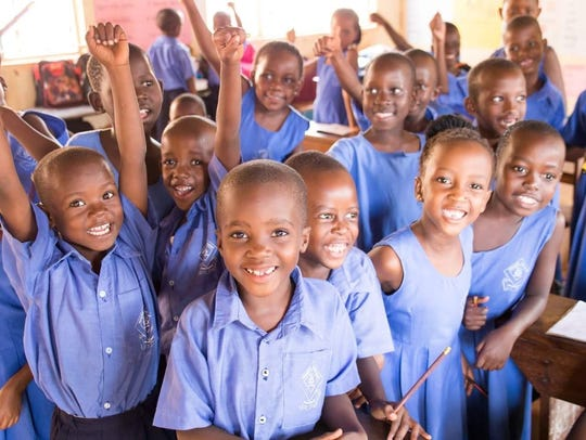 Students at Treasured Kids School in Uganda are excited