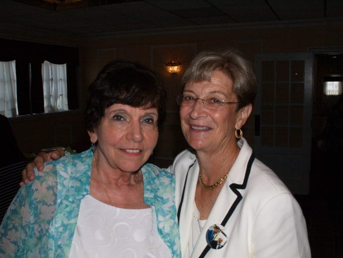Joan Taylor (Schliewenz), 2000 inductee, with Linda