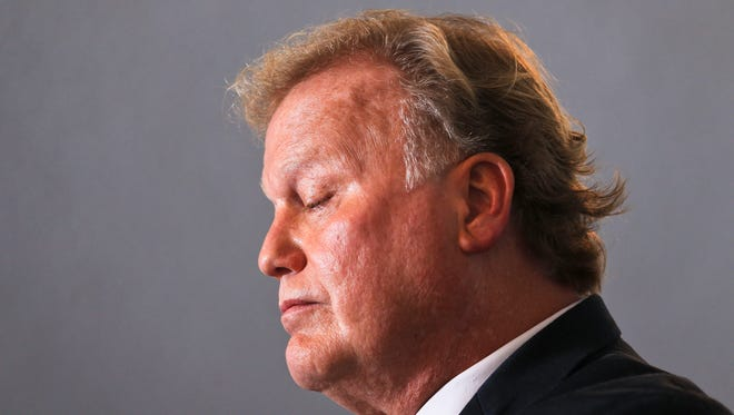 State Rep. Dan Johnson pictured Tuesday morning as he addressed sexual abuse allegations. Two days later, Johnson died by 'probable suicide,' according to the coroner.