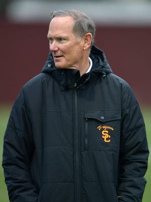 USC athletic director Pat Haden during the Trojans' spring practice.