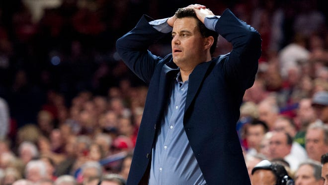 Jan. 28, 2016; Tucson; Arizona Wildcats coach Sean Miller reacts from the sideline during the second half against the Oregon Ducks at McKale Center. The Ducks won 83-75.
