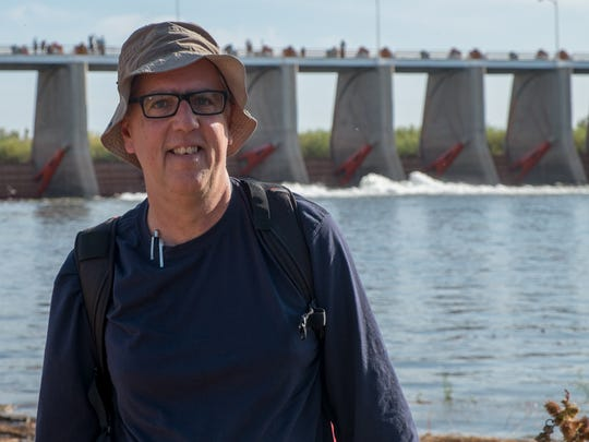 "John Fleck at Morelos Dam at the start of the ""pulse flow"" in 2014."