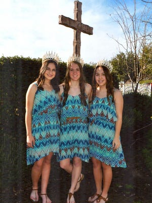 Kaylin Coelho, middle, is the 2016 Tipton Holy Ghost Annual Celebration. Attendants are Michaelanne Pitman and Marissa Nunes.