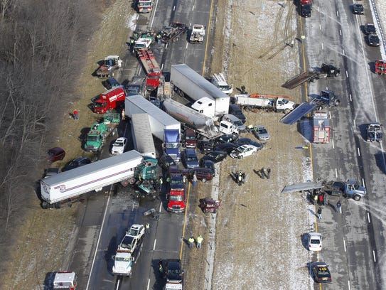 January 21, 2013. Vehicles are piled up in a major