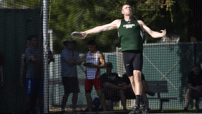 CSU's Josh Cogdill throws the discus Thursday in the men's decathlon at the Mountain West Outdoor Track and Field Championships. Cogdill won the title for the second year in a row.