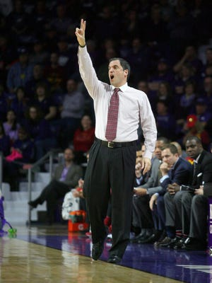 Iowa State Cyclones head coach Steve Prohm yells at his team during first-half action against the Kansas State Wildcats at Fred Bramlage Coliseum.