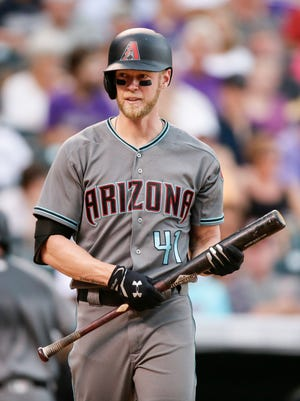 Arizona Diamondbacks right fielder Jeremy Hazelbaker in the eighth inning against the Colorado Rockies on Jun 22, 2017, at Coors Field.