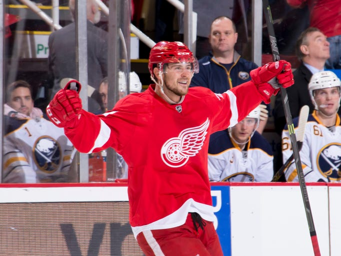 Detroit left wing Tomas Tatar celebrates his game winning