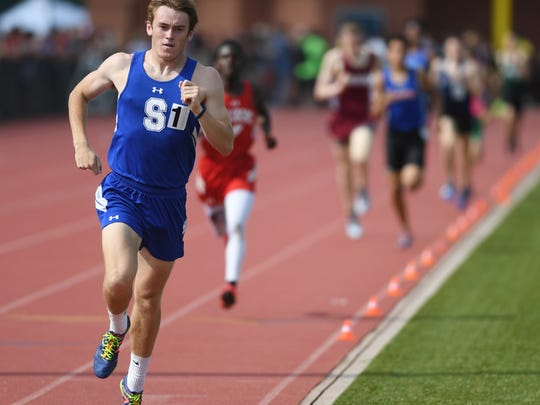 Day 1 of State Track Championships at Franklin High School in Somerset on Friday, June 1, 2018. Shore Regional's Drew Maher in the Group I boys 1600.