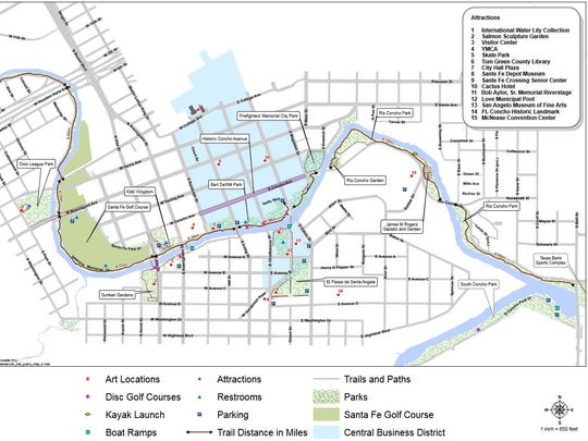 Map of the Concho River Walk created by the city of San Angelo.